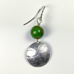 Silver and green agate textured earrings