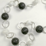 Silver lava and mother of pearl textured necklace
