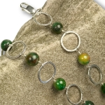 Silver and green agate textured necklace