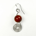 Silver and carnelian circle earrings